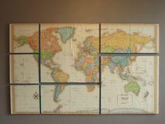 World Map Wall Art. $119.00, via Etsy.