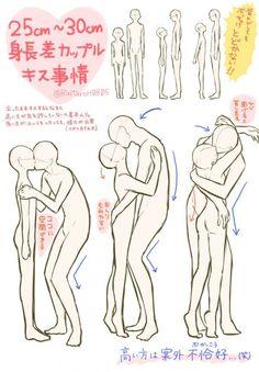 Tuto : Comment dessiner un couple qui s'embrasse avec une différence de taille ?