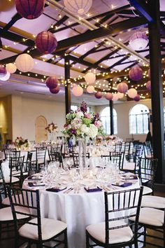 Purple and Green Reception Decor