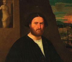 - Ritratto di gentiluomo in nero con guanto, statua e paesaggio con cavaliere -  Bernardino Licinio-Palazzo Thiene