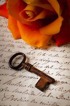 """Old Skeleton Key on Letter"""" by Garry Gay with orange rose. Under Lock And Key, Key Lock, Orange Brown, Orange Color, Burnt Orange, Unique Key, Autumn Rose, Old Keys, Orange You Glad"""