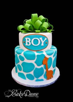 Boy Shower cake...change boy color for girl and put baby name instead of boy