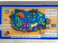 Sharing a Shell display board Primary Activities, Water Activities, Book Activities, Year 1 Classroom, Classroom Crafts, Sharing A Shell, Lighthouse Keepers Lunch, Shell Display, Key Stage 1