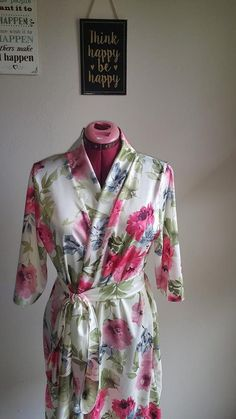 Floral Satin Robe Originals, Design Ideas, Trending Outfits, Unique Jewelry, Floral, Fashion Design, Etsy, Clothes, Vintage
