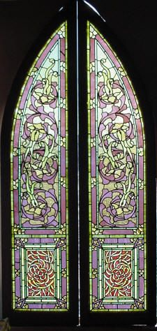 "Pr. Antique American Stained and Jeweled Glass Windows, Probably Rudy Bro. 16.5"" x 71""  fid6021"