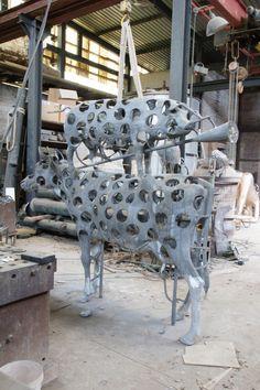 Het werk in aanbouw van Guido Geelen, dat op Beelden in Leiden komt te staan.