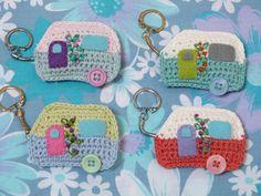 Handmade Crochet Caravan Keyrings by FloAndDotShop on Etsy ♥ •✿• Teresa Restegui http://www.pinterest.com/teretegui/ •✿•