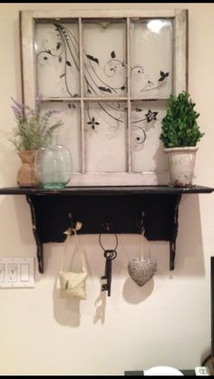 Old vintage window with separate wooden shelf