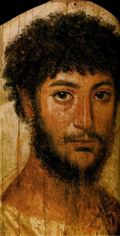 """Fayum mummy portrait of a young man, Roman period - Fayum mummy portraits is the modern term given to a type of naturalistic painted portrait on wooden boards attached to Egyptian mummies from the Coptic period. Mummy portraits have been found across Egypt, but are most common in the Fayum Basin, particularly from Hawara in the Fayum Basin and the Hadrianic Roman city Antinoopolis. """"Faiyum Portraits"""" is generally thought of as a stylistic, rather than a geographic, description."""