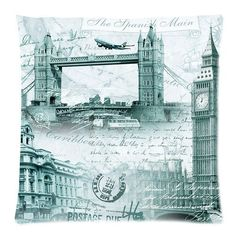 "Retro London Big Ben Tower Bridge Postmark Print Custom Zippered Pillow Cushion Case Throw Pillow Covers 20""x20""(two sides) Cushion Cover http://www.amazon.com/dp/B00KT5JJOO/ref=cm_sw_r_pi_dp_Kqpcvb17D0C23"
