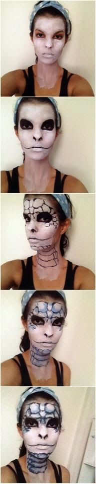 Oempaloempaas♥ Reptile make-up tutorial. Funny for halloween or cosplay. It's easy, fun and cute. Inspiration. Inspired by makeup posts on the internet and blogs.