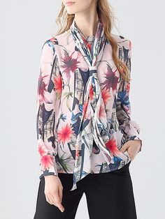 Multicolor Long Sleeve Silk Floral-print Blouse with Scarf Smart Business Casual, Business Casual Outfits, Fashion Online, Remote, Floral Prints, Outfit Ideas, Spring Summer, Silk, Blouse