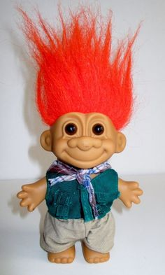 "Russ Troll Doll Hiking Camping Fishing Orange Hair with Outfit 4 1/2"" #Russ #DollswithClothingAccessories"