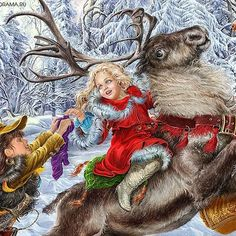 """Inna Kuzubova's illustrations for the fairy tale """"The Snow Queen"""". Discussion on LiveInternet - Russian Service Online Diaries Magical Christmas, Merry Christmas And Happy New Year, Christmas Art, Childrens Christmas, Christmas Animals, Illustrations, Book Illustration, Pin Up Girl Vintage, Fable"""