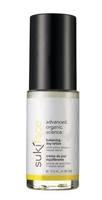 suki to-go balancing day lotion by suki clinically-proven natural solutions. $10.95. Suki Face Balancing Day Lotion - 0.25 oz. (75 mL) Suki Face Balancing Day Lotion is a lightweight, grease-free, daily-use moisturizer that soothes irritated, inflamed skin. Suki Face Balancing. Suki Face Balancing Day Lotionincreases collagen synthesis. Suki Face Balancing Day Lotionsoothes and comforts irritatedand sensitive skin types. Suki Face Balancing Day Lotion defends skin against f...