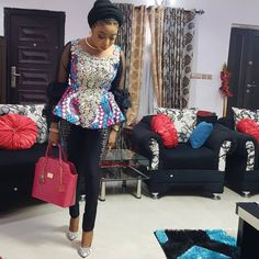 If yes, try some of the latest Ankara styles we have lined up for you today. They are sexy, sassy and look absolutely gorgeous. Amazing is the… African Attire, African Fashion Dresses, African Wear, African Dress, Ankara Fashion, African Outfits, Fashion Skirts, Ankara Peplum Tops, Ankara Blouse