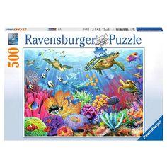 Ravensburger Puzzle 500 Piece Puzzles New Sea Turtle Tropical Colorful Plants #Ravensburger