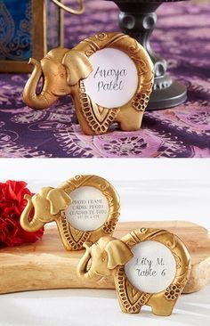 lucky golden elephant frames/place card holders