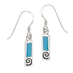Sterling Silver Etched Swirl Turquoise Block Dangle Earrings