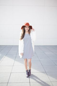 ruche // striped shift dress, wide brim fedora, sponsored, fall style, winter style, grey booties