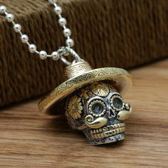 """Men's Sterling Silver Sombrero Skull Necklace with Sterling Silver Bead Chain 18""""-30"""""""