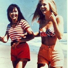 Beverly Hills 90210! Kelly and Brenda, in happier moments and looking very stylish!