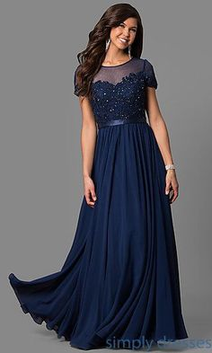 Plus-Size Lace-Bodice Long Formal Dress with Sleeves 0f07fbdc7647