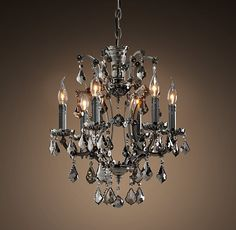19Th C. Rococo Iron & Crystal Chandelier Small Smoke