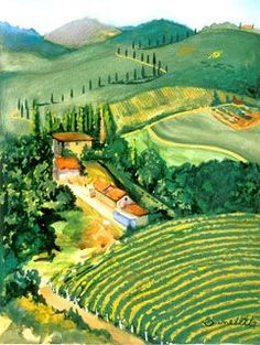 Tuscan Landscape by Tony Bennett (Antonio Benedetto): a true Renaissance man! Watercolor Landscape, Abstract Landscape, Marilyn Monroe Painting, Watercolor Paintings For Beginners, Tony Bennett, Painting Collage, Painting Lessons, Art Music, Painting Inspiration