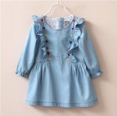 Cheap princess dress, Buy Quality long sleeve princess dress directly from China princess long dress Suppliers: Retro Kids Baby Girls Jeans Denim Long Sleeve Princess Dresses One-piece Dress Baby Girl Jeans, Girls Jeans, Baby Girls, Junior Dresses, Girls Dresses, Denim Dresses Online, Embroidered Denim Dress, Retro Kids, Jeans Denim