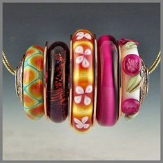 a stacked bead pendant focal fuchsia white green copper handmade lampwork sterling silver cored - Camillo
