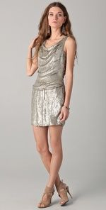 Sequin Drape Front Dress
