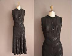 r e s e r v e d...30s black slinky bias vintage dress / vintage 1930s dress