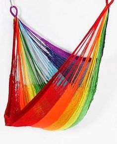 Rainbow Hanging Chair from Yellow Leaf Hammocks. Saved to dream home. Shop more products from Yellow Leaf Hammocks on Wanelo. Rope Hammock, Hanging Hammock Chair, Indoor Hammock, Rainbow Connection, Cozy Nook, Yellow Leaves, Over The Rainbow, Dot And Bo, My New Room