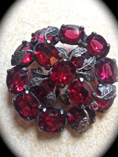 Ruby red rhinestone vintage round brooch- Costume Jewelry- Vintage Accessory-Raspberry Silver Pin- Vintage Rhinestone Brooch- Art Deco Pin - pinned by pin4etsy.com