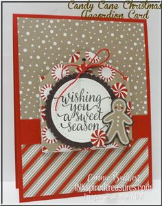 """Stampin' Up!'s Candy Cane Christmas Accordion Card for the Create with Connie and Mary special """"movement"""" card blog hop.  #stampinup, #inkspiredtreasures, created by Connie Babbert, www.inkspiredtreasures.com"""