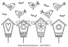 Birds and birdhouses - stylized hand drawn illustration by Martina Vaculikova, via ShutterStock