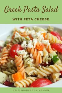 This tasty Greek pasta salad with feta cheese is super easy and healthy! The recipe comes with instructions on how to make your own Greek vinaigrette dressing. This delicious side dish is best served cold on a hot summer day. It is full of vibrant colors and flavors, sure to make your next BBQ or potluck a hit!
