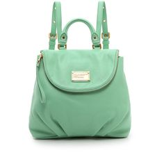 Marc By Marc Jacobs Classic Q Mariska Backpack - Minty (£320) ❤ liked on Polyvore featuring bags, backpacks, leather backpack, leather rucksack, slouch backpack, flap backpack and green backpack