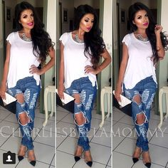 1000 images about ripped jeans heels all day on. Black Bedroom Furniture Sets. Home Design Ideas