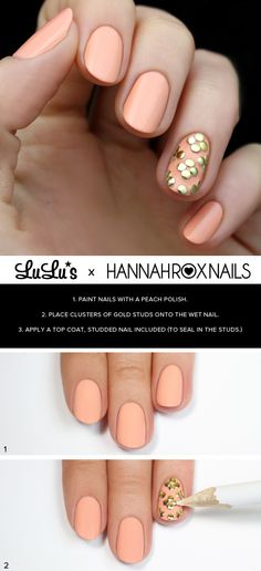 We love this Peach and Gold Studded Nail Manicure - easy & simple to do using the included tutorial #nailart...x