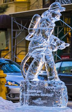 Firefighter ice sculpture