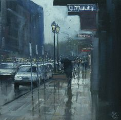 Mike Barr - Puddles on Waymouth- Acrylic - Painting entry - January 2012 | BoldBrush Painting Competition