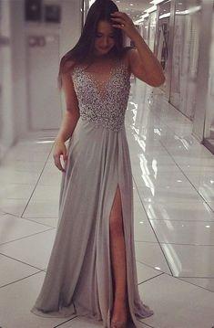 Grey Chiffon Sparkly Beaded Prom Dress with Slit,Sexy