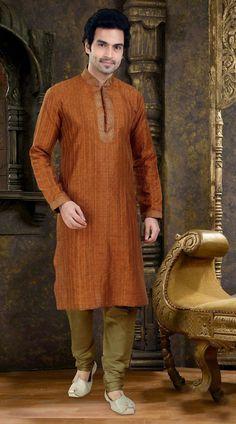 Astonishing Thread Work Rusty Orange Poly Jacquard  Kurta Payjama