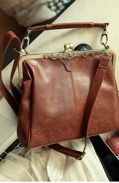 VIntage Romantic Brown Bag - synthetic Leather Purse shoulder Bag