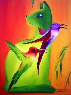 tomcat - Schilderij,  30x40 cm ©2010 door Tetiana Gorbachenko -                            Hedendaagse schilderkunst, paintings