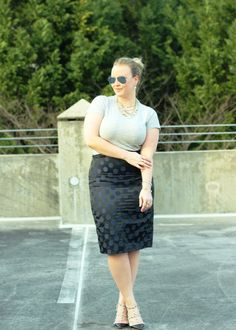 JCrew Pencil Skirt Fitted Tee Work Outfit