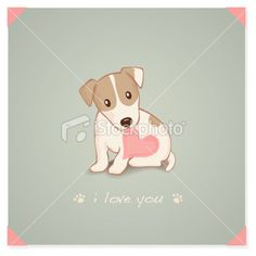 Jack Russell Terrier with heart Shape message in mouth Royalty Free Stock Vector Art Illustration
