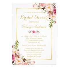 (Registry) Bridal Shower Chic Floral Golden Frame Card